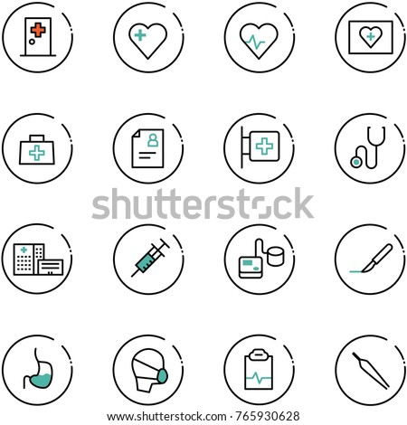 line vector icon set - first aid room vector, heart, pulse, kit, doctor bag, patient card, stethoscope, hospital building, syringe, tonometer, scalpel, stomach, medical mask, clipboard, forceps