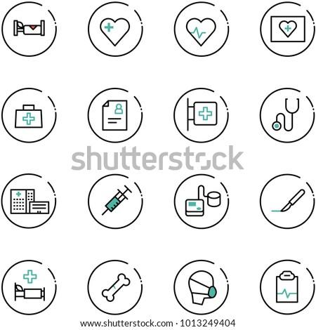 line vector icon set - hotel vector, heart, pulse, first aid kit, doctor bag, patient card, room, stethoscope, hospital building, syringe, tonometer, scalpel, bed, broken bone, medical mask