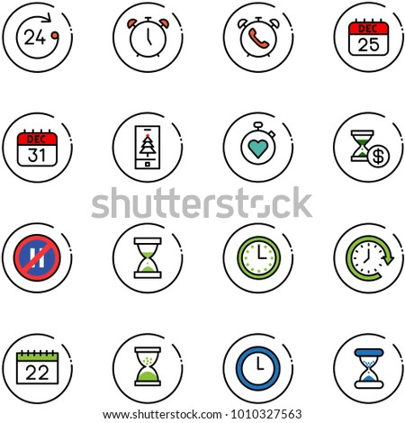 line vector icon set - 24 hours vector, alarm clock, phone, 25 dec calendar, 31, christmas mobile, stopwatch heart, account history, no parking even road sign, sand, time, around