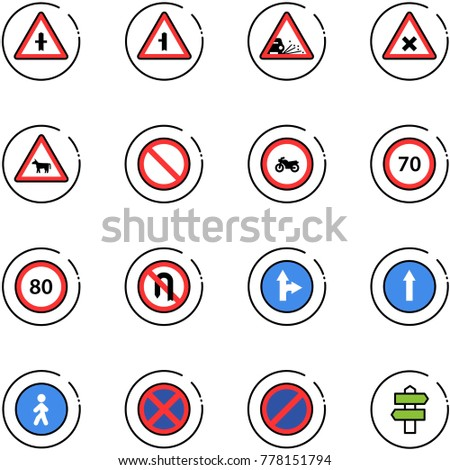 line vector icon set - intersection vector road sign, gravel, railway, cow, prohibition, no moto, speed limit 70, 80, turn back, only forward right, pedestrian way, stop, parking, signpost