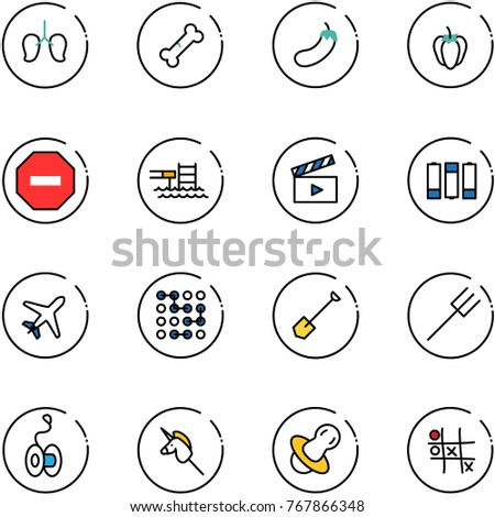 line vector icon set   lungs