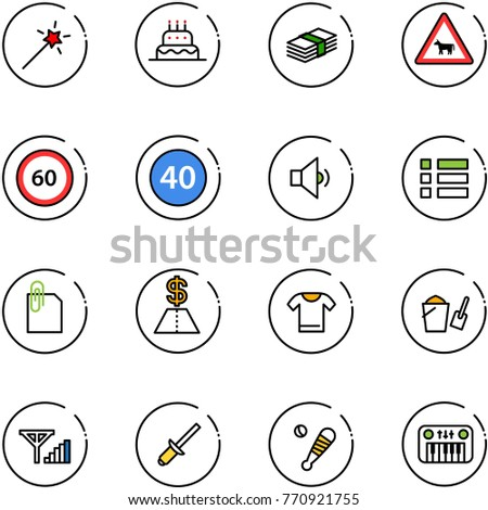 Stock Photo line vector icon set - Magic wand vector, cake, dollar, cow road sign, speed limit 60, minimal, low volume, menu, attachment, t shirt, bucket scoop, fine signal, clinch, baseball bat, toy piano