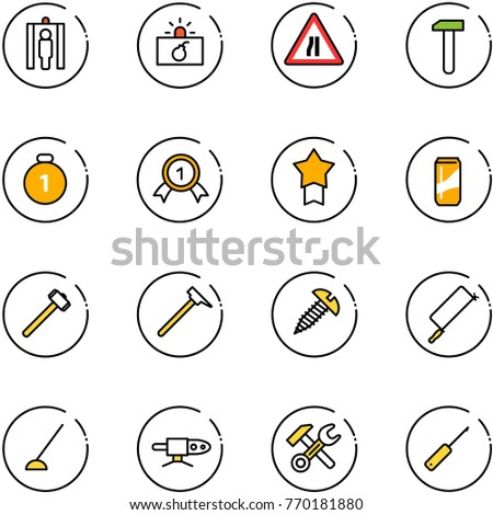 line vector icon set - metal detector gate vector, terrorism, Road narrows sign, work, gold medal, star, drink, sledgehammer, mason hammer, screw, hacksaw, hoe, pipe welding, wrench, awl