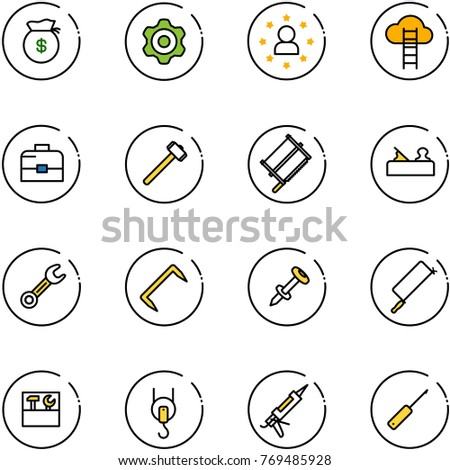 line vector icon set - money bag vector, gear, star man, cloud ladder, case, sledgehammer, bucksaw, jointer, wrench, staple, nail dowel, metal hacksaw, tool box, winch, gun sealant, awl