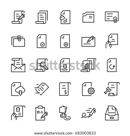 Line vector icon set of document. Editable stroke.