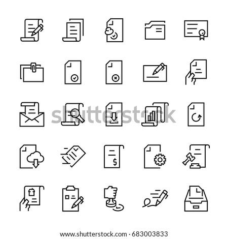 Line vector icon set of document. Editable stroke.
