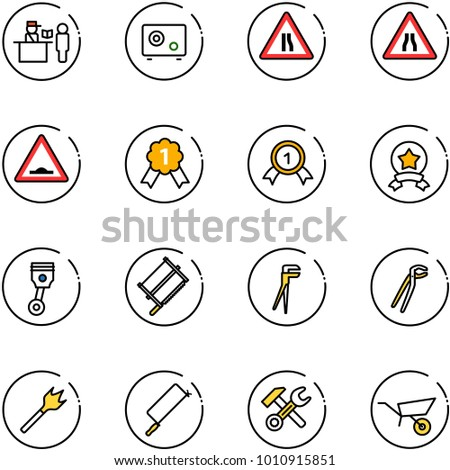 line vector icon set - passport control vector, safe, Road narrows sign, artificial unevenness, gold medal, star, piston, bucksaw, plumber, wood drill, metal hacksaw, wrench hammer, wheelbarrow