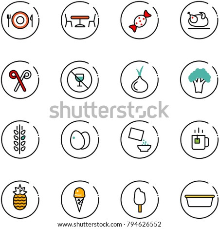line vector icon set   plate