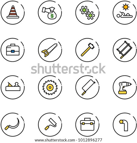 line vector icon set - road cone vector, encashment, gear, reading, case, saw, sledgehammer, bucksaw, jointer, disk, metal hacksaw, drill, sickle, paint roller, tool box, allen key