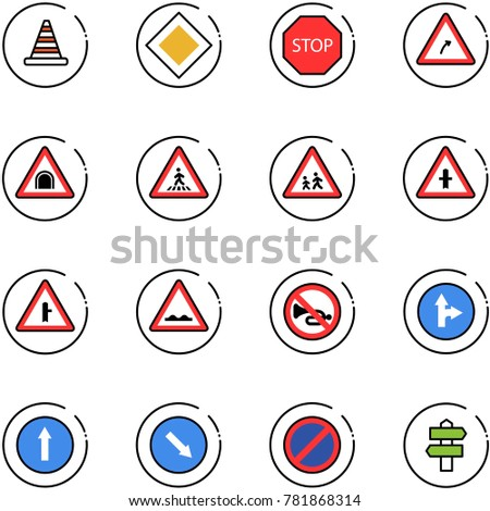 line vector icon set - road cone vector, main sign, stop, turn right, tunnel, pedestrian, children, intersection, rough, no horn, only forward, detour, parking, signpost