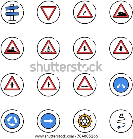 line vector icon set - road signpost vector sign, giving way, turn right, climb, steep roadside, pedestrian, intersection, rough, detour, circle, only, hand wheel, trip