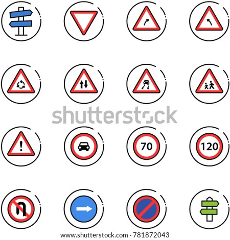 line vector icon set - road signpost vector sign, giving way, turn right, left, round motion, oncoming traffic, slippery, children, attention, no car, speed limit 70, 120, back, only, parking