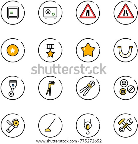 line vector icon set - safe vector, Road narrows sign, star medal, luck, piston, plumber, bolt cutter, rivet, Angular grinder, hoe, winch, wrench hammer