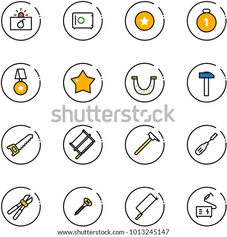 line vector icon set - terrorism vector, safe, star medal, gold, luck, hammer, saw, bucksaw, mason, chisel, bolt cutter, screw, metal hacksaw, welding
