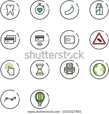 line vector icon set - tooth vector, stopwatch heart, eggplant, milk, credit card, tap pay, safe, multi lane traffic road sign, hand cursor, sand clock, printer, globe, chart point arrow
