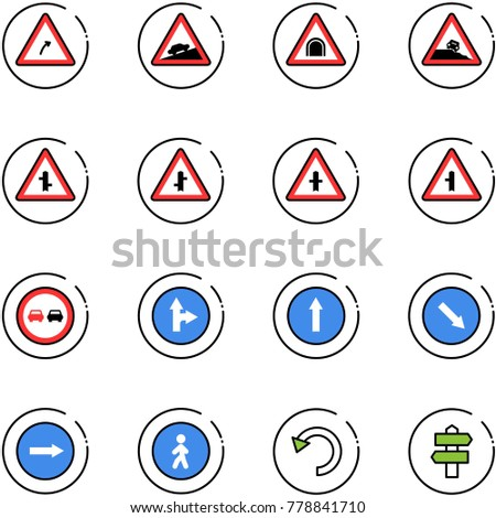 line vector icon set - turn right vector road sign, climb, tunnel, steep roadside, intersection, no overtake, only forward, detour, pedestrian way, undo, signpost