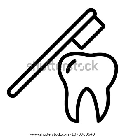 Line vector showing brushing teeth icon  #1373980640