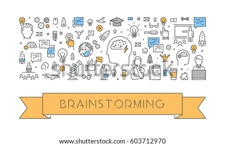 Line web banner for brainstorming. Modern linear concept for brainstorm.
