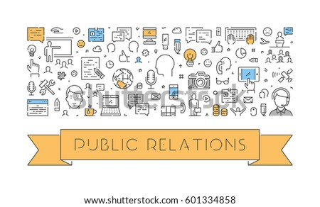 Line web banner for public relations. Modern linear concept for advertising.