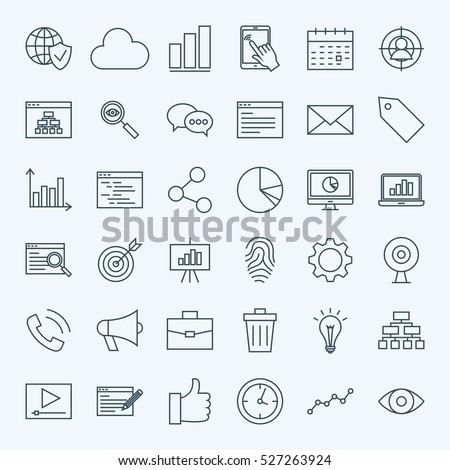 Line Web Development Icons. Vector Collection of Modern Thin Outline Search Engine Optimization Symbols. #527263924