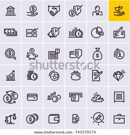 line web icons set, money and finance icons, business
