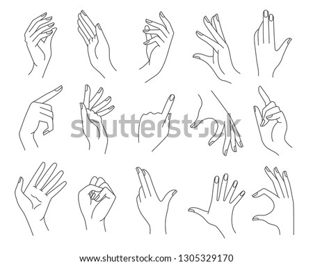 Line woman hands gestures. Women hand shapes vector illustration, drawing female gesture set isolated on white background