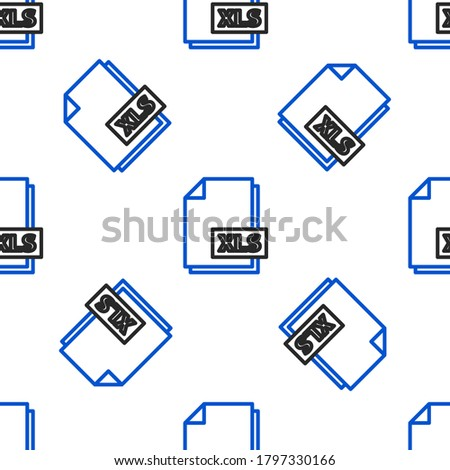 Line XLS file document. Download xls button icon isolated seamless pattern on white background. Excel file symbol. Colorful outline concept. Vector