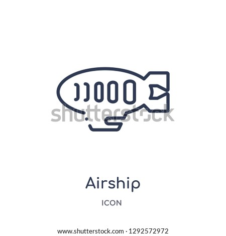 Linear airship icon from Free time outline collection. Thin line airship icon vector isolated on white background. airship trendy illustration