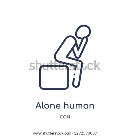 linear alone human icon from