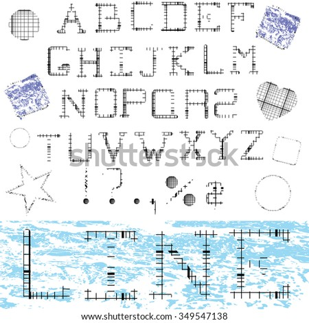 linear alphabet printed font