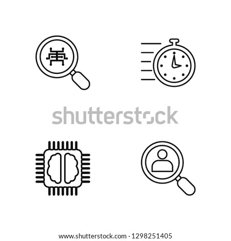 Linear Analytics, Learning, Quick, Hire Vector Illustration Of 4 outline Icons. Editable Pack Of Analytics, Learning, Quick, Hire