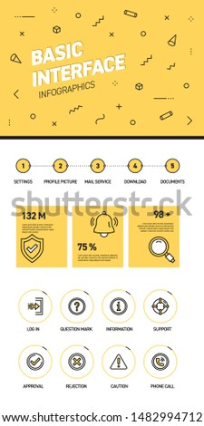 Linear and flat web design template of three pages with colored outline icons of Basic Interface. Basic Interface Banner Design and timeline Infographic Design with 8 icons. Graphic image concept
