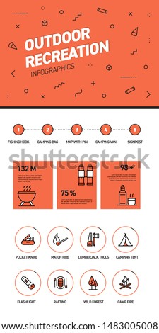 Linear and flat web design template of three pages with colored outline icons of Outdoor Recreation. Outdoor Recreation Banner Design and timeline Infographic Design with 8 icons.