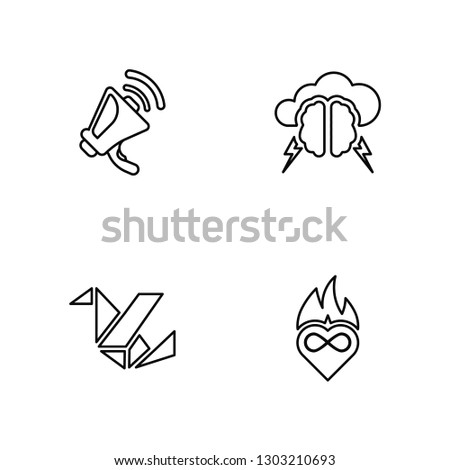 Linear Announcement, Origami, Brainstorm, Passion Vector Illustration Of 4 outline Icons. Editable Pack Of Announcement, Origami, Brainstorm, Passion