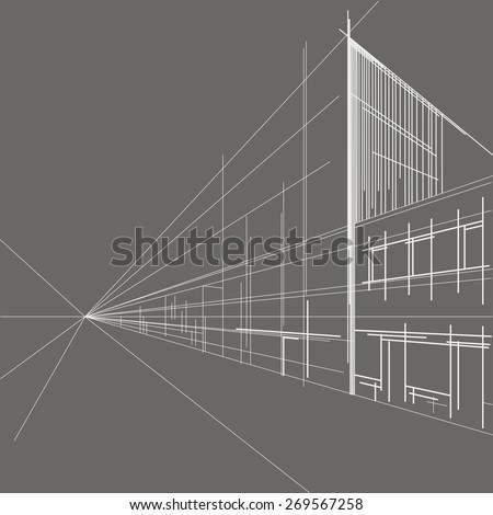 linear architectural sketch