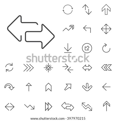 Shutterstock Linear Arrow icons set. Universal Arrow icon to use in web and mobile UI, Arrow basic UI elements set