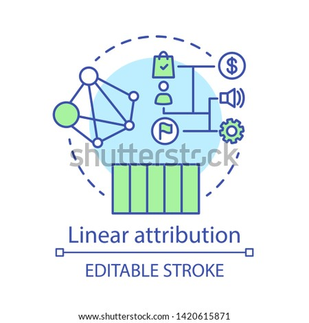 Linear attribution concept icon. Multi-touch attribution model idea thin line illustration. Attribution modeling type. Marketing campaigns analytics. Vector isolated outline drawing. Editable stroke