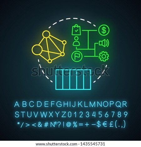Linear attribution neon light icon. Multi-touch attribution model. Attribution modeling type. Marketing campaigns analyze. Glowing sign with alphabet, numbers and symbols. Vector isolated illustration