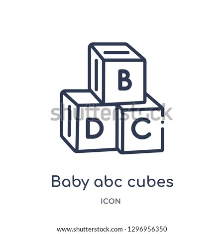 Linear baby abc cubes icon from Education outline collection. Thin line baby abc cubes icon isolated on white background. baby abc cubes trendy illustration