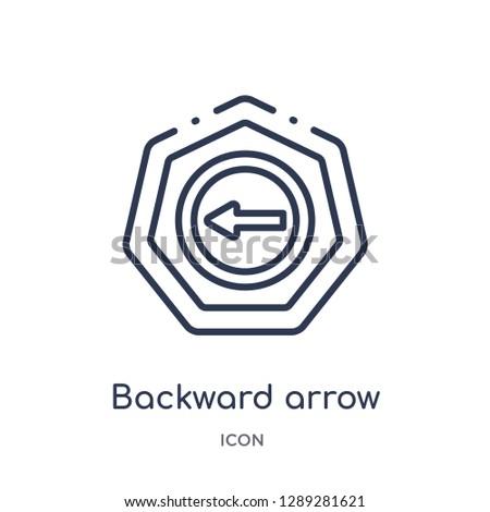 Linear backward arrow icon from Arrows outline collection. Thin line backward arrow vector isolated on white background. backward arrow trendy illustration