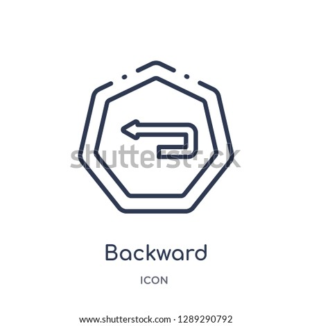Linear backward icon from Arrows outline collection. Thin line backward vector isolated on white background. backward trendy illustration
