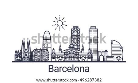 linear banner of barcelona city