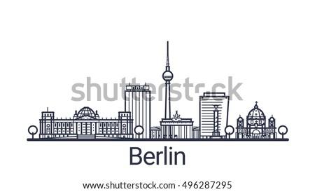 linear banner of berlin city