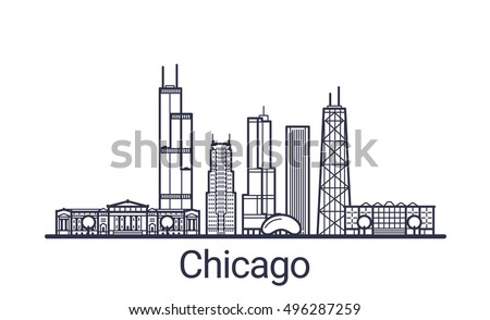 Linear banner of Chicago city. Customizable objects with opacity mask, so you can change composition and background fill. Line art.