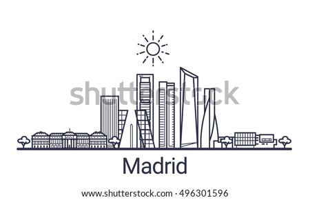 linear banner of madrid city