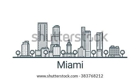 linear banner of miami city