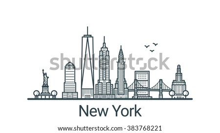 Linear banner of New York city. All buildings - customizable different objects with background fill, so you can change composition for your project. Line art.