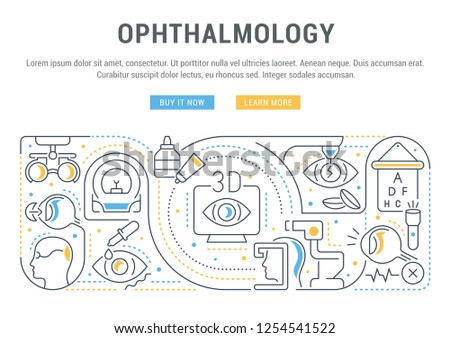 Linear banner of ophthalmology. Icons for web sites and applications.