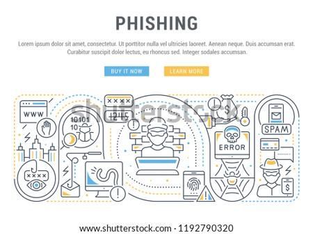 Linear banner of phishing. Vector illustration of fraud types.
