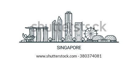 linear banner of singapore city